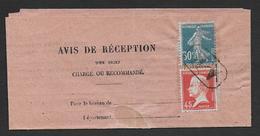 Semeuse Et Pasteur  Oblitérés AR  Sur Avis De Réception - Marcophilie (Lettres)