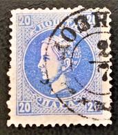 PRINCE MILAN IV OBRENOVITCH 1869 - OBLITERE - YT 20A - DENTELE 12 - IMPRESSION DECALEE VERS LE HAUT - BELLE OBLITERATION - Serbie