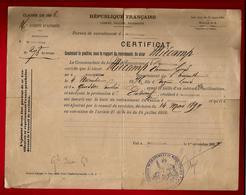 Certificat De Recrutement Armée Montpellier Sieur Miecamp Ajourné Par Conseil De Révision Le 14-05-1897 - 1-11-1897 - Dokumente