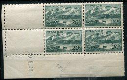 6349  - FRANCE    N°582**  20Fr Vert Foncé  Le Lac Lerie Et La Meije   Du   19/5/43     TB - 1940-1949