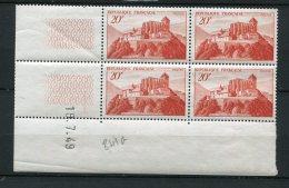 6352  - FRANCE    N°841A**  20Fr Rouge-brique  St Bertrand De Comminges   Du   19/7/49     TB - Dated Corners