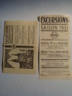 EXCURSIONS. SAISON 1949 / 1951. RENSEIGNEMENTS ET VENTE DE BILLETS - RATP. REGIE AUTONOME DES TRANSPORTS PARISIENS. - Tourism Brochures