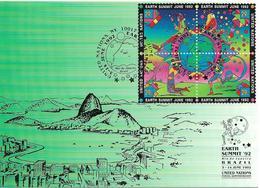 """1992 UNO New York Mi. 629-32 Maxi- Karte  """"EARTH SUMMIT `92"""" RIO De Janeiro BRAZIL 3-14 June 1992 - New York – UN Headquarters"""
