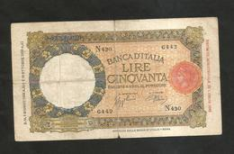 REGNO D' ITALIA - 50 Lire Lupetta ( FASCIO - Decr. 01 / 06 / 1938 - Firme: Azzolini / Urbini) - [ 1] …-1946 : Regno