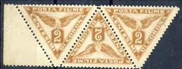 Fiume 1919 SA Striscia Di 3 Del N. 4 C. 2 Giallo Bruno MH Cat € 36 - Fiume