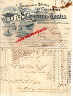 85- FONTENAY LE COMTE- RARE FACTURE MANUSCRITE LEPELTIER & CLAVELE-MANUFACTURE GALOCHES CHAUSSURES-1909 - Textile & Vestimentaire