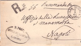 San Severo. 1896. Annullo Grande Cerchio SAN SEVERO (FOGGIA) + Ovale UFFICIO REGISTRO, Su Franchigia Con Testo - 1878-00 Umberto I