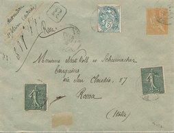 Entier Recommandée ST Felicien Ardeche Mouchon, Blanc, Semeuse Pour Rome - 1877-1920: Période Semi Moderne