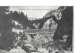 1 Cpa Dos Simple. Chamonix : Pont Du Chemin De Fer Du Fayet, Avec Passerlle En Contrebas - Chamonix-Mont-Blanc