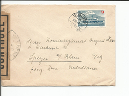 Suisse, Lettre Censure Timbre Pro Patria 30ct 1947, St Gallen - Speyer, Rhénanie-Palatinat Allemagne (9.7.1947) - Storia Postale