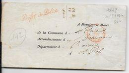 1847 - LETTRE SC En FRANCHISE Du PREFET De POLICE à PARIS Avec MARQUE LINEAIRE ROUGE => OISE - 1801-1848: Precursori XIX