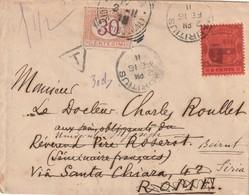 Lettre De Maurice 1911 Pour Rome , Taxée En Italie Et Réexpédié Et Taxée A Beyrouth Levant Autrichien RRR - Maurice (...-1967)