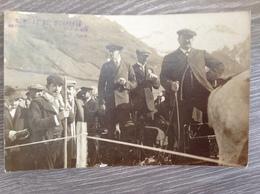 CARTE  PHOTO S.M Le Roi D'ESPAGNE Au Concours De Ski. EAUX BONNES 1909 - Familles Royales
