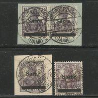 Saargebiet. Saar Auf Germania Nr. 7 A / B / C Gestempelt - 1920-35 Saargebiet – Abstimmungsgebiet