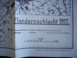 """WO1 """"Flandernschlacht 1917 Verlauf Der Stellungen"""" Veldslag Vlaanderen 1917 Geallieerde En Duitse Stelling 1917 - Topographical Maps"""