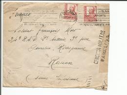 Espagne, Lettre Censure, Pamplona - Rouen France (18.12.1937) - Nationalistische Zensur