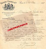 75- PARIS-  LETTRE MANUSCRITE SIGNEE TAVERNE GRUBER- 21 BIS BD. DIDEROT- 1908  RESTAURANT - Petits Métiers