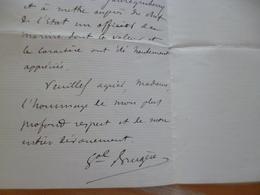 LAS Autographe Général Joseph Brugère Uzerche 1841/1918 2ème, 9ème, 18ème Artillerie Recomandations - Autogramme & Autographen