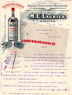 51- BROYES- LETTRE M.E. LAURIER- GRANDE DISTILLERIE BROYENNE-QUINQUINA- LIQUEUR SPIRITUEUX-1910 - Alimentaire