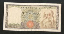 ITALIA - BANCA D'ITALIA - 50000 LEONARDO (Decr. 16/05/1972 - Firme: Carli / Barbarito) RARO - [ 2] 1946-… : Repubblica
