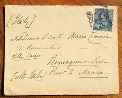 GRAN BRETAGNA BUSTA DA LONDON CON 2,5 ISOLATO A  ROMAGNANOI SESIA ITALY IN DATA 5/3/1892 - 1879-08 Principato