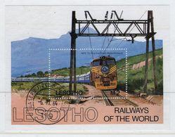 Lesotho 1984 Railways Of The World Fine Used Mini Sheet. - Lesotho (1966-...)