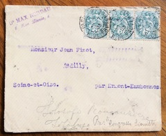 FRANCIA BUSTA  PARIS - ERMONT - EAUBONNE  22/7/1903 TRA  MAX NORDAU  E  JEAN FINOT  GRANDI SOCIOLOGI DEL SECOLO SCORSO - 1879-08 Principato