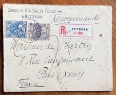 NEDERLAND OLANDA RACCOMANDATA DA  CONSULAT GENERAL DE FRANCE ROTTERDAM A PARIS IN DATA 8/10/1910 - 1879-08 Principato