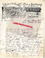 28- LA LOUPE- RARE LETTRE MANUSCRITE SIGNEE A. LAMY-MARCHAND DE VINS -CIDRERIE DISTILLERIE-AUX DOCKS DE L' OUEST-1912 - Alimentaire