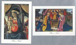 IT.- 2 X Buon Natale - Vrolijk Kerstfeest: Madonna In Trono Van Ghirlandaio En Adorazione Dei Pastori Van F. Di Lorenzo. - Maagd Maria En Madonnas