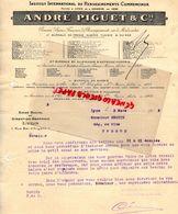 69- LYON-GENEVE-  FACTURE ANDRE PIGUET-INSTITUT INTERNATIONAL RENSEIGNEMENTS COMMERCIAUX- 1913 - Petits Métiers
