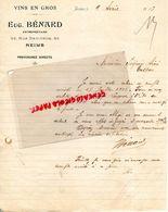 51- REIMS- RARE LETTRE MANUSCRITE SIGNEE EUGENE BENARD- MARCHAND DE VINS-63 RUE GAMBETTA-1913 - Alimentaire