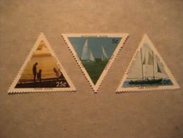 Rattlesnake Island Sunset Sailing Race Lake Schooner 3 Triangle Local Poster Stamp Label Vignette Viñeta England - Local Issues