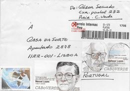 TIMBRES - STAMPS - LETTRE POUR PORTUGAL - CAP VERT / CAPE VERDE - ÉCRIVAINS BALTASAR LOPES ET MANUEL LOPES - Cape Verde