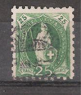 SUISSE, 1888, Helvetia Debout,  Yvert N° 82, 25 C Vert ,obl  , DENTELE 9 1/2, TB - 1882-1906 Armoiries, Helvetia Debout & UPU