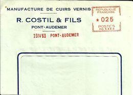 Lettre  EMA Havas Mg Costil  Manufacture   Theme Textiles Cuir Pont Audemer B/1437 - EMA (Printer Machine)