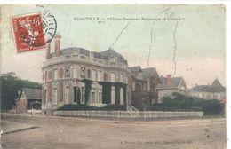 "DEAUVILLE . "" VILLA SUZANNE ROBINSON ET CRUSOE "" CARTE COLORISEE AFFR LE 29-9-1908 SUR RECTO - Deauville"