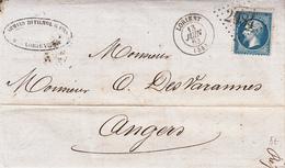 LAC Affr Y&T 22 Obl GC 2084 + TàD LORIENT Du 13 JUIN 63 Adressée à Angers - Marcophilie (Lettres)