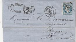 LAC Affr Y&T 22 Obl GC 2084 + TàD LORIENT Du 9 JANV 67 Adressée à Angers - Marcophilie (Lettres)