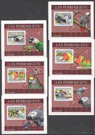 A413 !!! IMPERFORATE 2009 DE GUINEE BIRDS PERROQUETS PARROTS 6 LUX BL MNH - Perroquets & Tropicaux