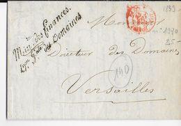 1839 - LETTRE Du MINISTERE Des FINANCES (DOMAINES) à PARIS  => VERSAILLES - 1801-1848: Precursores XIX