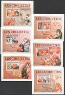 A433 2009 DE GUINEE FAUNA BIRDS OWLS LES CHOUETTES 6 LUX BL MNH - Owls