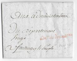 1793 AN 2 - LETTRE De L'ADMINISTRATION Des DOMAINES à PARIS  => FONTENAY LE PEUPLE (VENDEE) - Postmark Collection (Covers)