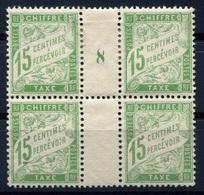 RC 8009 FRANCE TAXE N° 30 - 15c PAPIER BLANC BLOC DE 4 MILLÉSIME COTE 270€+  NEUF */** TB - 1859-1955.. Ungebraucht