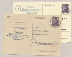 Alliierte Besetzung - 1945 - 2x Postkarte 6 Pf Stadt Berlin Commercial Used From Berlin To Oberweier In Baden - Amerikaanse, Britse-en Russische Zone