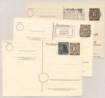 Alliierte Besetzung - 1946 - 3x Postkarte 10 Pf Kontrollratsausgabe - Amerikaanse, Britse-en Russische Zone
