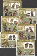 A479 !!! IMPERFORATE 2009 DES COMORES FAUNA BIRDS LES HIBOUX OWLS 6 LUX BL MNH - Owls