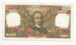 Billet , 100 Francs , CORNEILLE , 2-6-1966 , 2 Scans - 1962-1997 ''Francs''