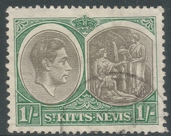 St Kitts-Nevis. 1938-50 KGVI. 1/- Used. P13X12 SG 75 - St.Christopher-Nevis-Anguilla (...-1980)