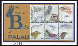 Palau 2000 MNH SS, Birds, Owl, Flyeater, Dove, Bush-warbler, Fantail - Eulenvögel